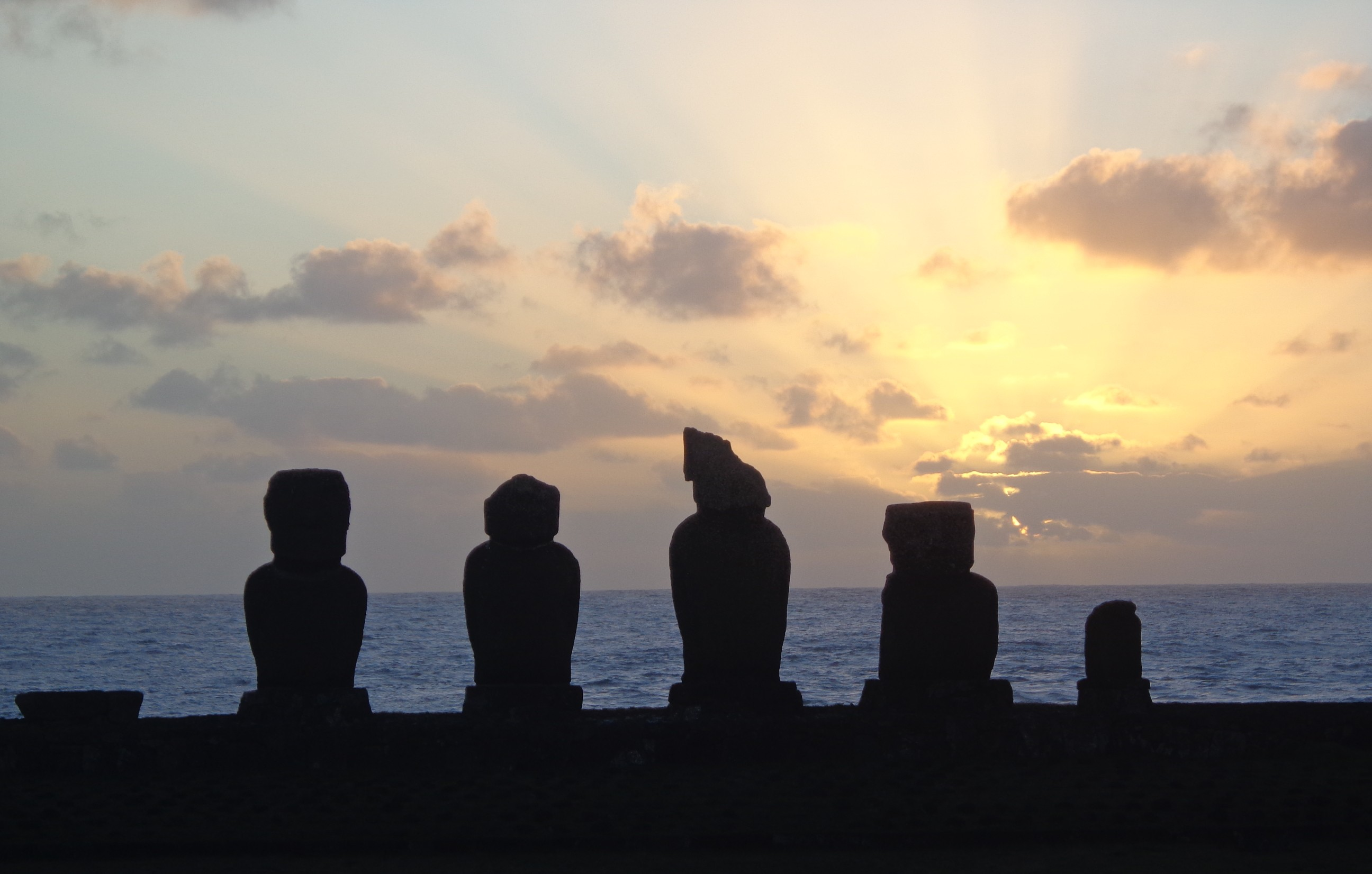 easter island ahu tahai sunset